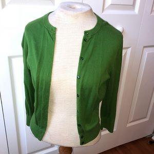 Green J.Crew Cardigan Sweater
